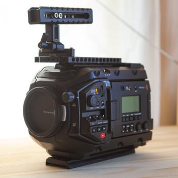 Rent Blackmagic Ursa Mini Pro 4.6K EF and PL mount digital cinema camera plus SmallRig cage