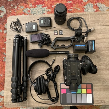 Rent Sony Fs5 kit with Audio Gear and Light Tripod / Run-and-Gun Kit in Super Small Bag