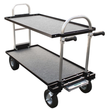 Rent Backstage Magliner Senior Cart, with top/bottom carpeted shelves and external stand caddy
