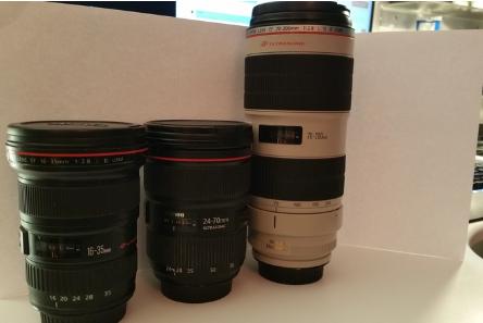 Canon 16 35 l ii  24 70 l ii  and 70 200 l ii lens kit