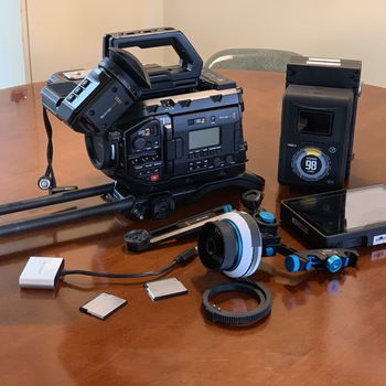 "Rent Blackmagic Ursa Mini Pro EF w/ Shoulder Kit & EVF - (2) 256GB CFast Cards - (2) 98Wh Batteries - Follow Focus -  SmallHD 7"" Monitor"