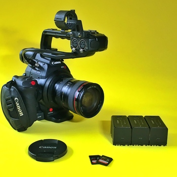 Rent Canon EOS C100 MKII + Lenses, Tripod, Audio
