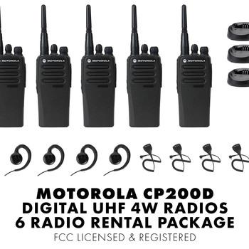Rent Set of Six (6) Motorola CP200D DIGITAL 4W UHF Walkie Talkie Two Way Radio HT FCC Licensed