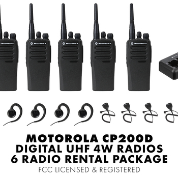 Rent Set of Six (6) Motorola CP200D DIGITAL 4W UHF Walkie Talkie Two Way Radio HT FCC Licensed