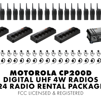 Rent Set of Twenty Four (24) Motorola CP200D DIGITAL 4W UHF Walkie Talkie Two Way Radio HT FCC Licensed