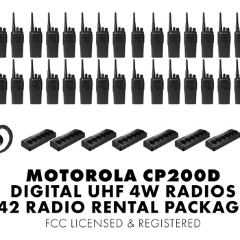 Rent Set of Fourty Two (42) Motorola CP200D DIGITAL 4W UHF Walkie Talkie Two Way Radio HT FCC Licensed