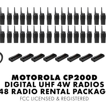 Rent Set of Fourty Eight (48) Motorola CP200D DIGITAL 4W UHF Walkie Talkie Two Way Radio HT FCC Licensed