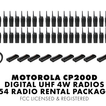 Rent Set of Fifty Four (54) Motorola CP200D DIGITAL 4W UHF Walkie Talkie Two Way Radio HT FCC Licensed