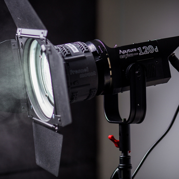 Rent Aputure 120d MARK II (New version!) with Fresnel Lens & Barn Doors
