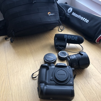 Rent Panasonic LUMIX GH5 Package, 3 Lenses, DMW-BGGH5 Battery Grip,  Rode Mic, Manfrotto Tripod with Lowepro Travel Backpack