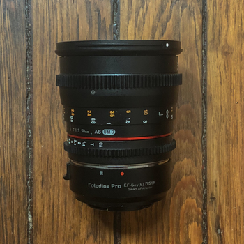 Rent Rokinon 50mm T1.5 AS UMC Cine DS Lens for EF Mount with Sony E Mount Adapter