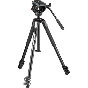 Rent Manfrotto MT190X3 3-Section Aluminum Tripod with MVH500AH Fluid Head Hybrid Video Kit