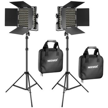 Rent Lighting Kit: (2) Neewer Bi-color 660 LED Video Light and Stand + (4) NP-F960 / NP-F970 Batteries
