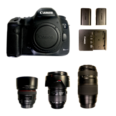 E20a59 162cbf canon 5d mark iii body  canon 50mm  24 70mm f2 8  tamrom 70 300mm f5 6  canon batteries   charger   front   2