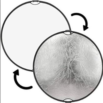 """Rent 42"""" silver/white circular reflector"""