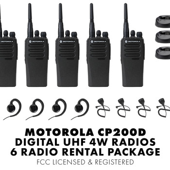 Rent Motorola CP200d Walkie Talkie Radios Set of Six 6 FCC Licensed