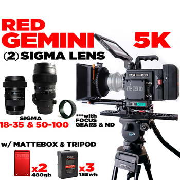 Rent RED Gemini 5K Base + (2) SIGMA 18-35mm & 50-100mm f/1.8