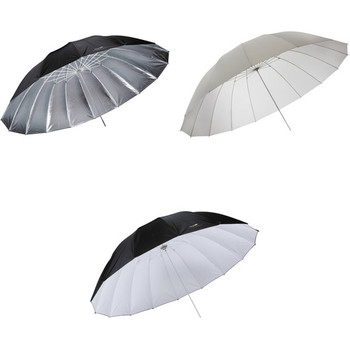 Rent Impact 7' Parabolic Umbrella Kit (set 0f 3: Silver, white bounce and white diffusion)