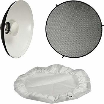 """Rent 22"""" Impact Beauty Dish Reflector with honeycomb grid, diffusion sock and Profoto mount"""