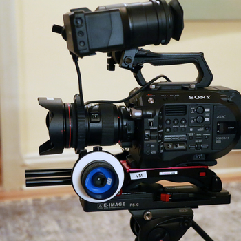 Rent Sony FS7 M2, Metabones Speedbooster, Canon 24-70 Lens, Redrock Micro Follow Focus, Manfrotto 509HD / 545GB Tripod