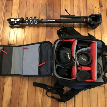 Rent Compact Doc/Event C100 Kit with Lens, Onboard Mic, Monopod & Backpack