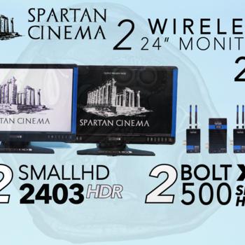 """Rent 2x Wireless 24"""" Monitors: Bolt 500 XT 2:2 + 2x SmallHD 2403s"""