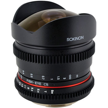 Rent Rokinon T3.8 Cinema Lens 8mm Ultrawide Angle / Fisheye Lens (Declicked Aperture & SUPER SHARP!)