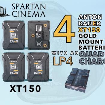 Rent 4x Anton Bauer Dionic XT150 Gold Mount Batteries + Charger 150 Wh