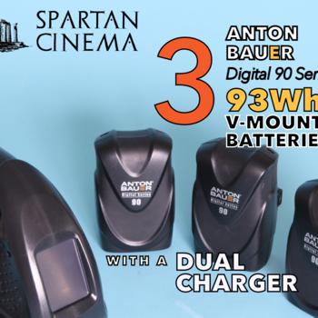 Rent 3x Anton Bauer Digital 90 V-Mount Batteries 93Wh + Charger