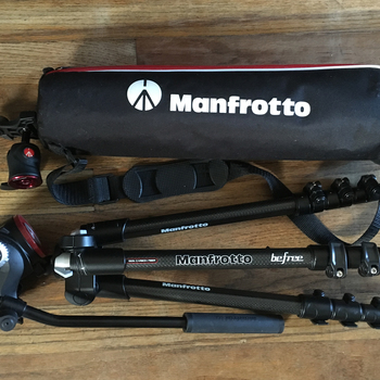 Rent Manfrotto Befree Compact Travel Carbon Fiber Tripod with fluid head and ball head