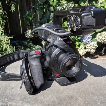 Rent Canon C100 m2 w/ Rain Cover + Extra Ext. Life Battery