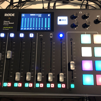 Rent Rodecaster Pro podcast mixer and ATR2100 microphones