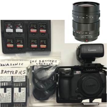 Rent GH5S - CAMERA + VOIGTLANDER 17.5MM F0.95 LENS, BATTERIES, CARDS, XLR ADAPTER