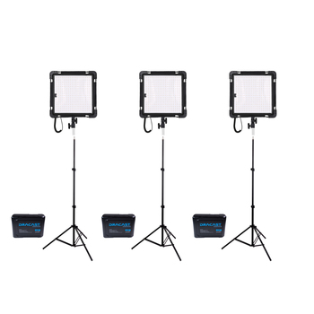 Rent  Set of THREE Dracast Yoga Series LED 500 Flexible Lights/ Stands/ V-mount Batteries - Lightweight!