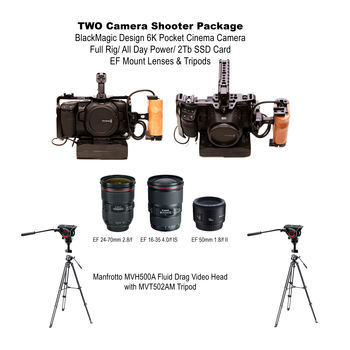 Rent 6K TWO Camera package/ BlackMagic PCC6K/ EF Lenses/ Tripods