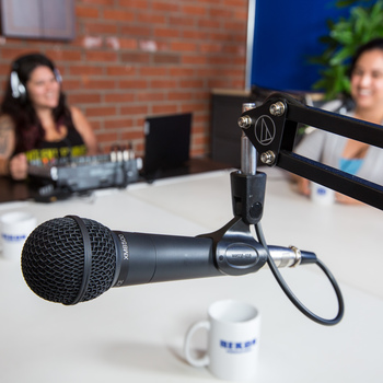 Rent 2x Podcasting Mics with Headsets, stands, and mixer