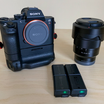 Rent Sony A7Rii, Ziess 24-70mm f/4 Tessar lens, Sony Battery Grip, Peak Design Strap