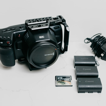 Rent 6K Blackmagic Design Pocket Cinema Camera, Canon EF (w/ Half Cage)
