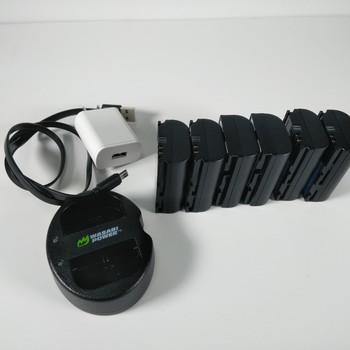 Rent Battery LP-E6, LP-E6N Battery (5-Pack) and Dual Charger for Blackmagic Pocket 4K, Canon EOS 5D Mark II/III/IV, EOS 5DS, 5DS R, EOS 6D, 6D Mark II, EOS 7D, 7D Mark II, EOS 60D, 60Da, 70D, 80D, EOS R, XC10, XC15