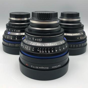 Rent Set of 3 Zeiss CP2 Lenses.  EF, PL or Sony E-Mount w/ TANGERINE Matt Box