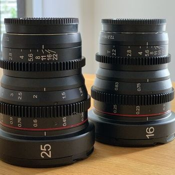 Rent Meike 16mm & 25mm  T2.2 Manual Focus Cinema Lens (MFT Mount)