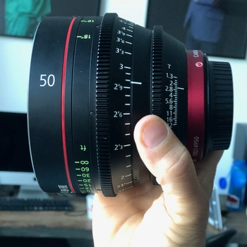 Rent Lovely look for interviews. CN-E 50mm T1.3 L F Cinema Prime Lens.