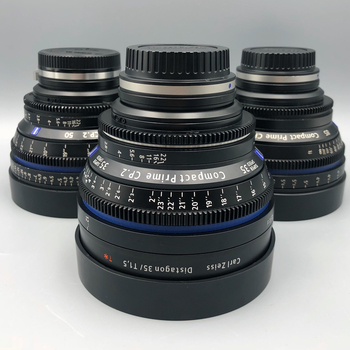 Rent Set of 3 Zeiss CP2 Prime lenses  for EF or Sony E-Mount.