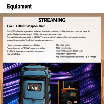 Rent LiveU LU600: Industry Standard Broadcasting Device-- Stream Flawlessly over Banded Cellular!