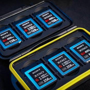Rent (6x) Sony XQD FS7/FX9 Memory Cards: (2x256GB/3x128GB/1x64GB)