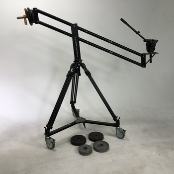 Rent CamCrane 200 with tripod head, wheels and counterweights.