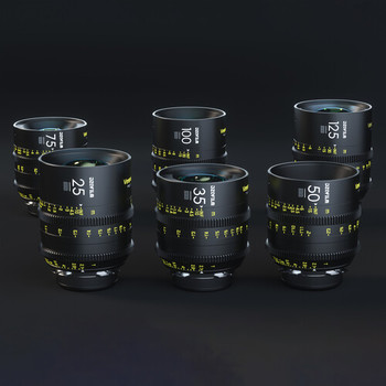 Rent DZO Vespid 6 Prime Lens Set (25, 35, 50, 75, 100, 125mm T2.1 Full Frame and small with 80mm fronts