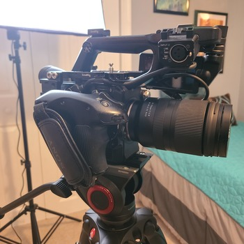 Rent Sony PXW-FS-5 with RAW upgrade.  Tamron 17-70mm, Small rig cheese plates