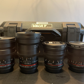 Rent Rokinon Lens Kit (24mm, 35mm, 50mm, 85mm) w/ Case, Matte Box and ND Filter
