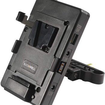 Rent Soonwell V-Mount Plate USB Power Supply Splitter BP Battery with LP-E6 Battery Pack 15 mm Rod Clamp